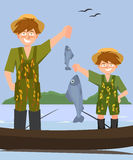 Two boys  fishing from the boat Stock Image