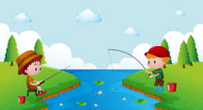 Two boys fishing in the river. Illustration Stock Images