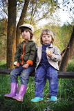 Two boys on the forest Royalty Free Stock Photo