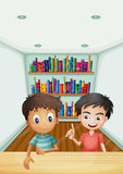 Two boys in front of the bookshelves with books. Illustration of the two boys in front of the bookshelves with books royalty free illustration