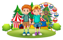 Two boys in front of the carnival. Illustration of the two boys in front of the carnival on a white background Royalty Free Stock Images