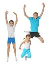 Two boys and girl exercising Royalty Free Stock Photo