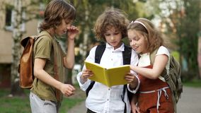 Two boys and a girl, teenagers, school children, discuss a book on the way from school. The girl saw the bumblebee and. Was frightened. Back to school. School stock video footage