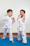 Two boys girls demonstrate martial arts working together. Fighting position, active lifestyle, practicing fighting techniques stock photo