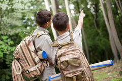 Two boys go hiking with backpacks on a forest road bright sunny Stock Images
