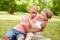 Two boys have fun in the park Royalty Free Stock Images