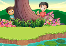 Two boys hiding at the tree Royalty Free Stock Photo