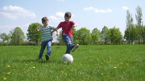 Two boys hit the ball on green playfield. With dandelions, slow motion 250 fps stock video