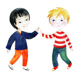 Two boys holding hands. Royalty Free Stock Images