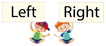 Two boys holding sign left and right. Illustration Stock Photography