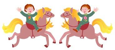 Two boys on horseback. Vector illustration. Stock Photos