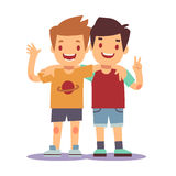 Two boys hugging, best friends, happy smiling kids vector illustration. Happy friends boys isolated on white backgorund Royalty Free Stock Image