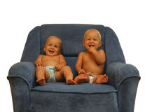 Two Boys In The Armchair Royalty Free Stock Photos