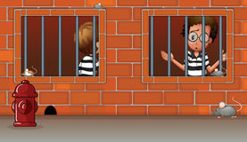 Two boys inside the jail Stock Images