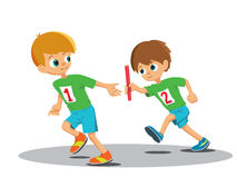 Two boys involved in the relay Royalty Free Stock Photo