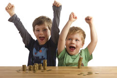 Two boys jumping for joy Royalty Free Stock Photography