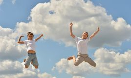 Two boys jumping Royalty Free Stock Images