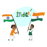 Two boys, kids, teenagers holding Indian flags Royalty Free Stock Photos