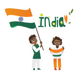 Two boys, kids, teenagers with Indian flags Royalty Free Stock Photography