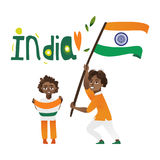 Two boys, kids, teenagers with Indian flags Stock Photography