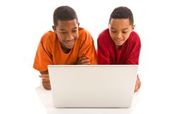Two boys with laptop Royalty Free Stock Image