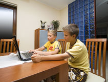 Two boys and laptop computer Stock Images