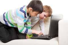Two boys with laptop Stock Photo