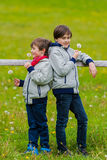 Two boys leaned on a fence Royalty Free Stock Image