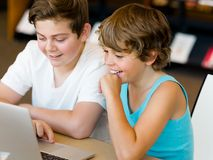Two boys in library Stock Photo