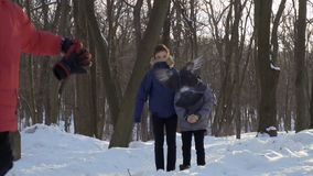 Two boys look at flying pigeon in winter park, slow motion. Two boys look at flying pigeon standing in winter park. Other child run in front of camera. Slow stock footage