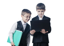 Two boys looking at laptop Royalty Free Stock Image