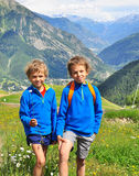 Two boys in mountains Stock Photography