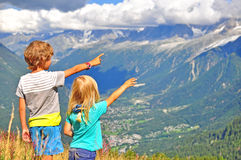 Two boys in mountains Royalty Free Stock Photography