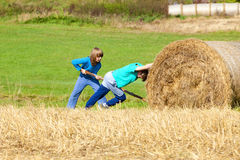 Two Boys Moving Bale of Hay Stock Photography