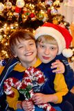 Two Boys near Christmas tree Stock Images