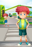 Two boys near the gasoline station Stock Image
