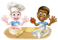 Cartoon Boys Baking. Two boys, one black one white, dressed as chefs or bakers baking cakes and cookies stock illustration