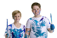 Two Boys Painting Royalty Free Stock Photo