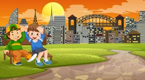Two boys on park bench. Illustration stock illustration