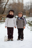 Two boys in the park with lantern Royalty Free Stock Images