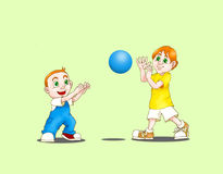 Two boys play ball. Two young cute happy boys with a blue soccer ball,isolated , smilling together Royalty Free Stock Photography