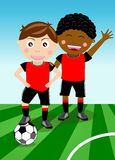 Two boys play soccer. Illustration of two boys on a green field who are waiting for you to have fun playing football togheter Stock Images
