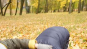 Two boys playing in autumn park. Family activities stock video footage