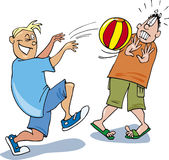 Two boys playing ball. Cartoon illustration of two teen boys playing ball Stock Photography
