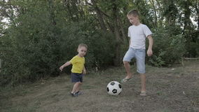 Two boys playing with a ball. In the park stock video footage
