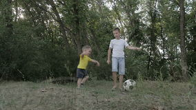 Two boys playing with a ball. In the park stock video