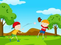 Two boys playing baseball in park. Illustration Stock Image