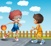 Two boys playing basketball. Illustration of two boys playing basketball vector illustration