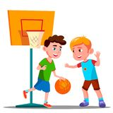 Two Boys Playing Basketball On The Playground Together Vector. Summer Activity. Isolated Illustration. Two Boys Playing Basketball On The Playground Together vector illustration