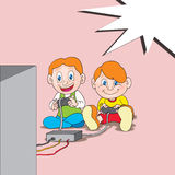 Two boys playing with blank bubble text Royalty Free Stock Images